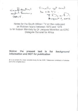 Report of 3 visits by Dr Jacques Moreillon as ICRC Delegate General for Africa to Robben Island